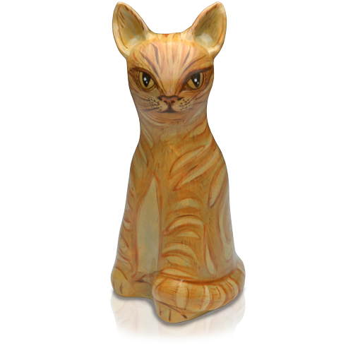 Sitting Hand-Painted Cat-Shaped Urn- Custom Painting