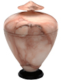 Pet Urn Keepsake Pink and White Alabaster