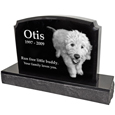 Side view of Pet Burial Photo Granite Marker- Traditional