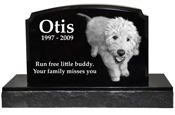 Pet Burial Photo Granite Marker- Traditional
