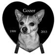 Pet Photo Laser Engraved Black Marble Heart- Extra Large with stand