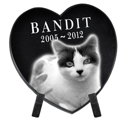 Pet Photo Laser Engraved Black Marble Heart- Small with stand
