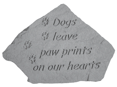 Garden Stone Pet Memorial Dogs Leave Paw Prints (with small paw prints)