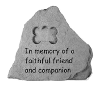 Garden Stone Pet Memorial In Memory of a Faithful Friend (with bone)