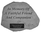 Garden Stone Pet Memorial In Memory, Leash & Collar