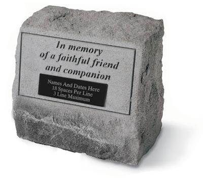 Garden Stone Pet Memorial In memory of a faithful friend (Engravable)