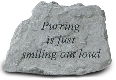 Garden Stone Cat Memorial Purring is smiling