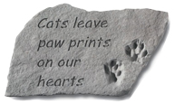 Garden Stone Pet Memorial Cats Leave Paw Prints