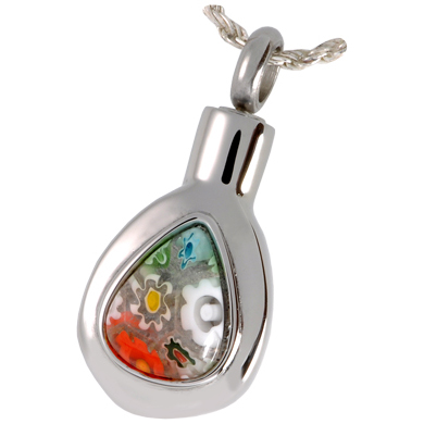 Pet Cremation Jewelry Stainless Steel Art Glass Teardrop