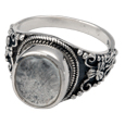 Pet Cremation Jewelry: Sterling Silver Ornate Ring with Clear Glass Front