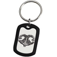 Stainless Steel Dog Tag Nose Print Memorial Key Ring and rubber silencer