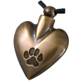 Antiqued Brass Heart Paw Print Pet Cremation Jewelry Pendant