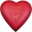 Brass Heart Dog Urn- Scarlet shown engraved