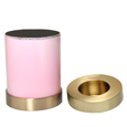 Shown with open lid, Pink Pet Memorial Candle Holder Dog Urn