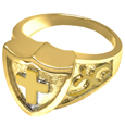 Gold Pet Cremation Jewelry Shield Ring