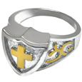 Pet Cremation Jewelry Two Tone Shield Ring