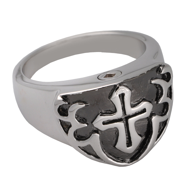 Pet Cremation Jewelry Mens Cross Ring Black