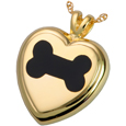 Pet Cremation Jewelry: Black Inlay Dog Bone Heart