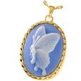 Pet Cremation Jewelry: Butterfly Cameo Blue