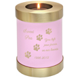 Pink Pet Memorial Urn Keepsake Candle Holder shown engraved with candle