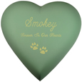 Brass Heart Cat Urn- Sage shown engraved