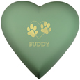 Brass Heart Dog Urn- Sage shown engraved