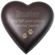 Brass Heart Dog Urn- Espresso shown engraved