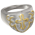 Pet Cremation Jewelry Two Tone Cross Ring