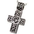 Paw print cross pet cremation jewelry