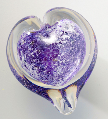 Pet Memorial Boundless Heart, Small shown in amethyst purple