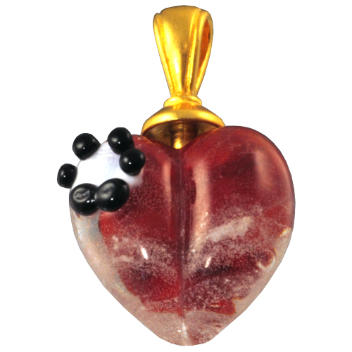 Pet Cremation Jewelry Red Loving Memory Heart Pendant with Pawprint