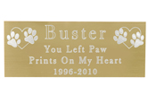 Large Pet Memorial Engraved Plaque- Brass Finish