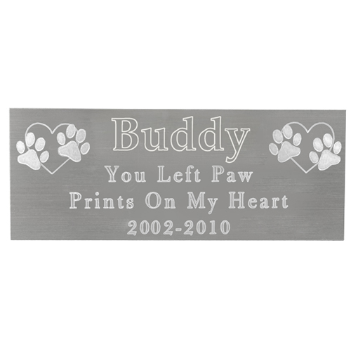 Large Pet Memorial Engraved Plaque- Silver Finish