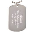 Engraved Rhodium-plated Dog Tag Pendant with chain