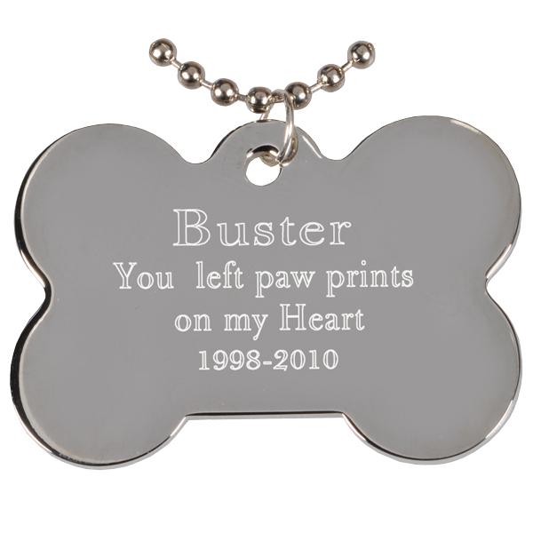 hanging pet tags engraved rhodium plated bone pendant