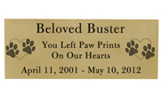 Large Pet Memorial Engraved Plaque- Brass Finish Black Fill
