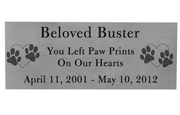 Large Pet Memorial Engraved Plaque- Silver Finish Black Fill