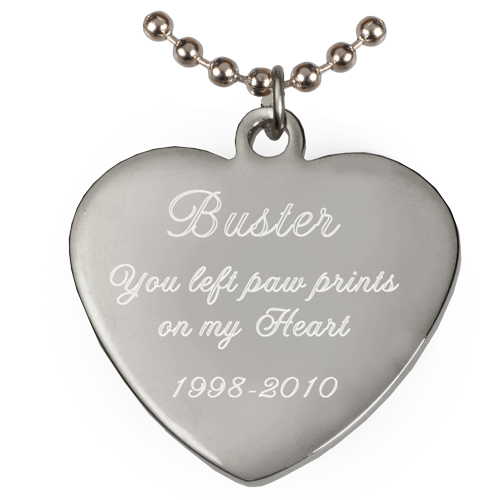 Engraved Heart Pendant with chain shown engraved