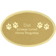 Small Pet Memorial Engraved Oval Brass Plaque