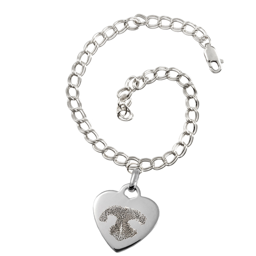 Sterling Silver Heart Charm Bracelet Nose Print Pet Memorial Jewelry