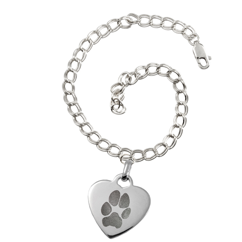 Sterling Silver Heart Charm Bracelet Paw Print Pet Memorial Jewelry