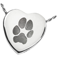 Pet Print Cremation Jewelry: Peaceful Heart Pawprint