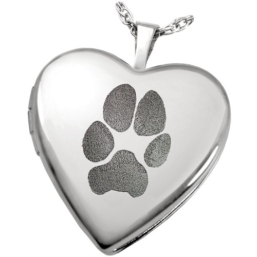 Sterling silver heart photo locket paw print pet memorial jewelry mozeypictures Choice Image