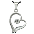 Pet Cremation Jewelry Premium Stainless Steel Rose Heart back shown