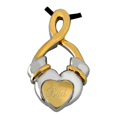 Pet Cremation Jewelry Claddagh Infinity shown engraved