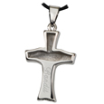 Back of Pet Cremation Jewelry Claddagh Cross shown engraved