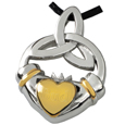 Pet Cremation Jewelry Premium Stainless Steel Claddagh Trini shown engraved