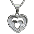 Back shown of Pet Cremation Jewelry Stainless Steel Married Hearts
