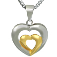 Front view Pet Cremation Jewelry Stainless Steel Married Hearts