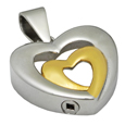 Urn opening shown on Pet Cremation Jewelry Stainless Steel Married Hearts